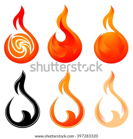 Set of fire icons. Symbols of fireball  - stock vector