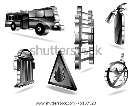 set of fire icons. vector 2 - stock vector