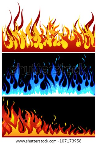 Set of fire vector backgrounds with tongue of flame - stock vector