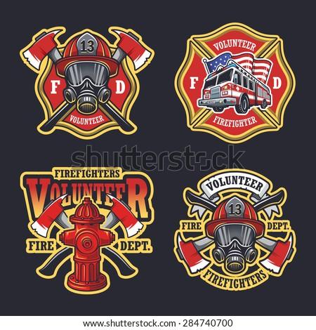 Set of firefighter emblems, labels, badges and logos on dark background. - stock vector