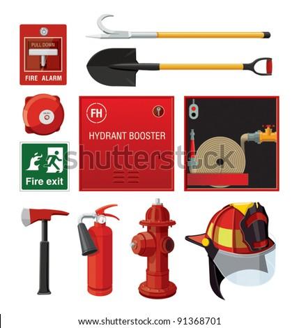 Set of firefighting equipment - stock vector