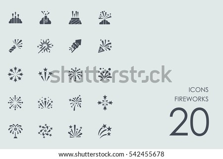 Set of fireworks icons