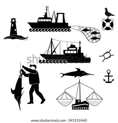 Set of fishing and sea items. - stock vector