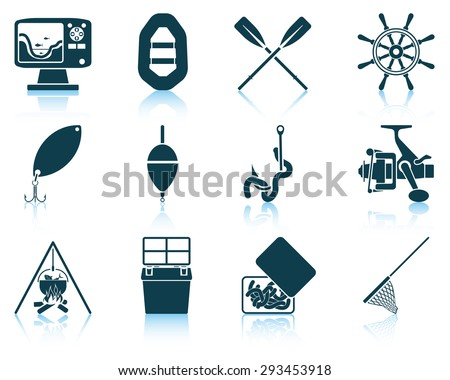 Set of fishing icons - stock vector