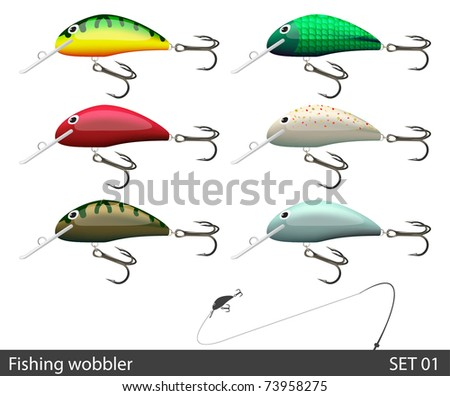 Set of fishing wobble. Vector illustration.