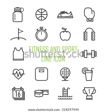 set of fitness and sport line icon isolated on white  background - stock vector