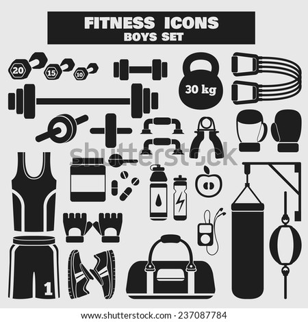 Set of fitness black icons in flat style for boys. Vector illustration with various sport symbols for healthy life on light background - stock vector