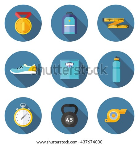 Set of fitness flat icons with long shadows - stock vector