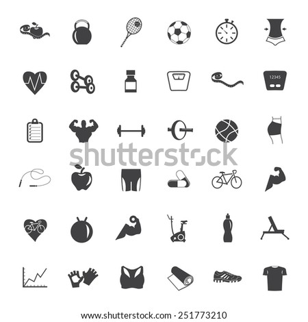 Set  of fitness icons.  - stock vector
