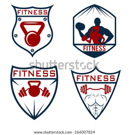 set of fitness labels - stock vector