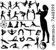 Set of fitness women exercise, do martial arts and yoga, in a group of silhouettes, with Eastern, Buddhist symbols. - stock vector