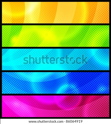 Set of five abstract  banners / vector / modern backgrounds - stock vector