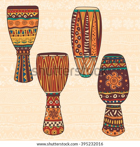 Set Of Five African Drums