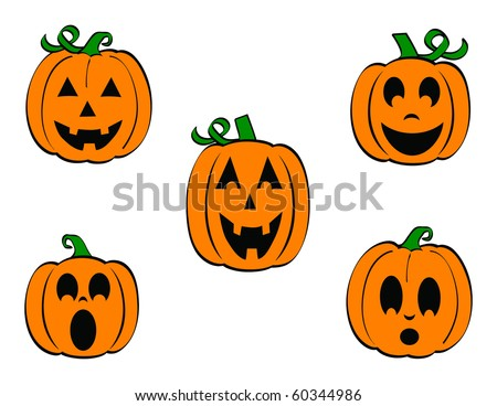 Set of Five carved Pumpkins/Jack O'Lanterns with different expressions - stock vector