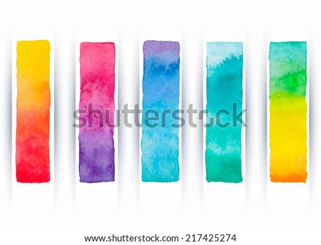 Set of five colored watercolor banners. Vector illustration. - stock vector