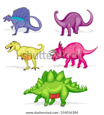 Set of five colorful dinosaurs. Vector eps10. - stock vector
