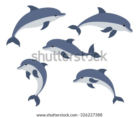 Set of five cute dolphins. Vector illustration. - stock vector