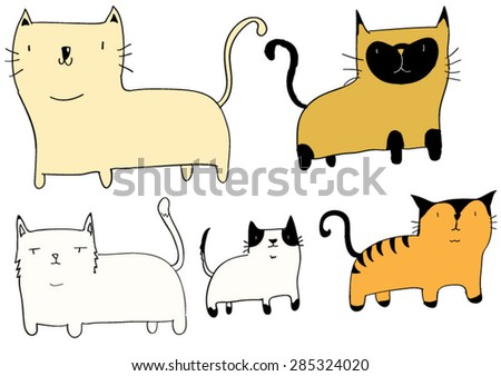 Set of five different cats - stock vector