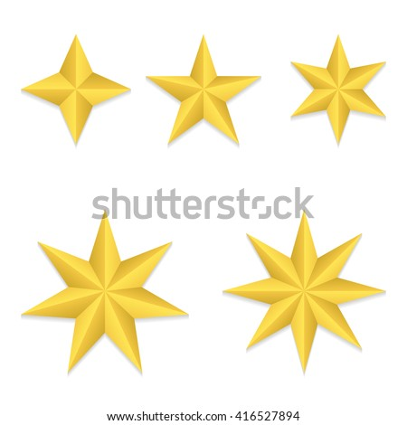 Set of five different golden stars. Vector, eps10. - stock vector