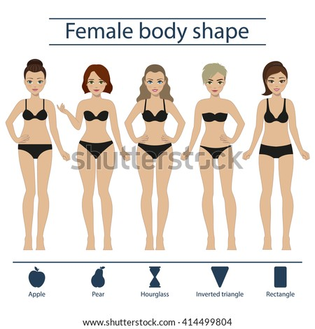 Set of five different types of female figures - hourglass, apple, pear, rectangle, inverted triangle. Vector. - stock vector