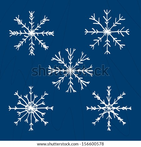 Set of five drawn snowflakes on blue background. Vector version.