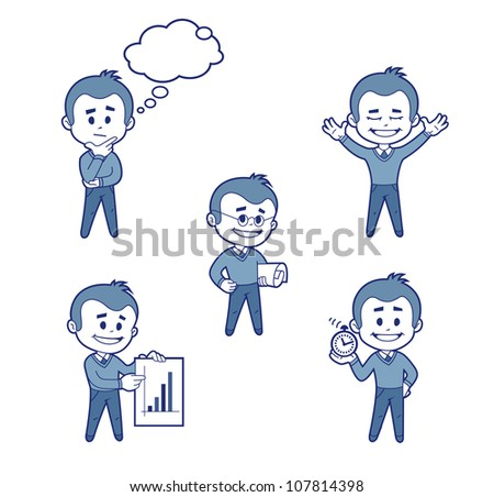 Set of five flat characters businessman - stock vector