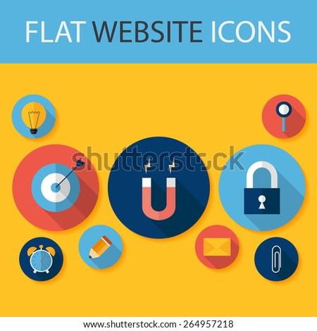 Set of Five Flat Circle Website Icons. Flat Stylized Circle Icons with Small Shadows - stock vector