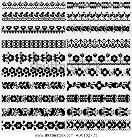 Set of five floral and geometric seamless colored borders (part of collection)