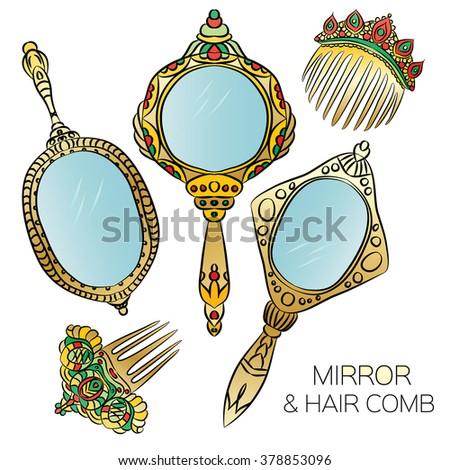ornate hand mirror drawing. Perfect Mirror Set Of Five Gold Vintage Hand Mirror And Hair Combs  Round Ellipse Oval For Ornate Drawing R