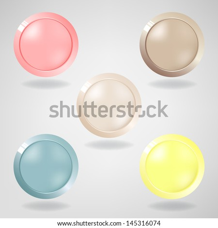 Set of five light  buttons on grey background. Vector version. - stock vector