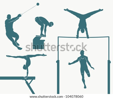 Set of five Olympic disciplines - vector illustration
