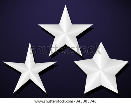 Set of five pointed stars