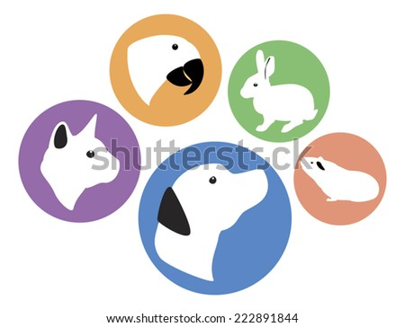 Set of five round vector pet animal icons - dog, cat, rabbit, parrot, and guinea pig. Colors are editable. - stock vector