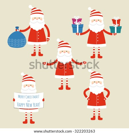 Set of five Santa Claus on a blue background. Vector illustration.