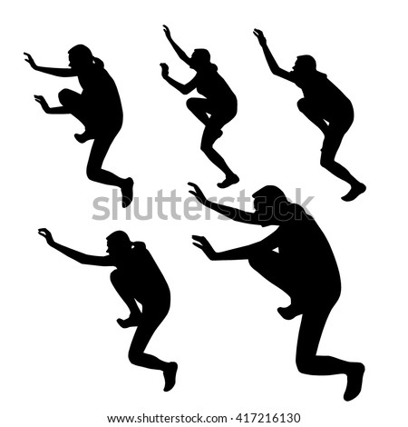 Set of five silhouettes of girl in the movement. Silhouette of a woman making efforts. Person performs exercises. Silhouette of rock climber climbing up. Climber who climbs over the surfaces. Vector.
