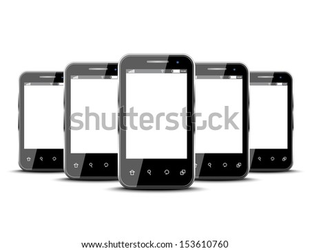 Set of five smartphones isolated on a white background  - stock vector