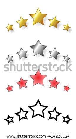 Set of five stars. range of award stars for services, i.e. hotel, spa resorts... Vector isolated illustration of five stars: golden, silver, red, black.