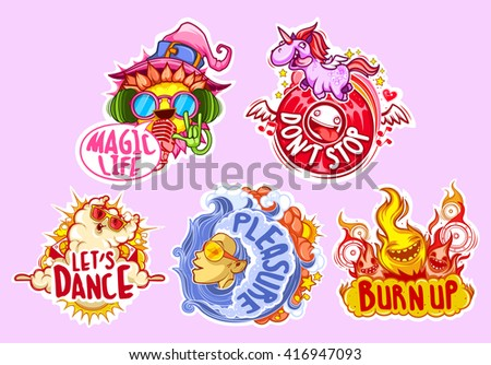 Set of five stickers for party