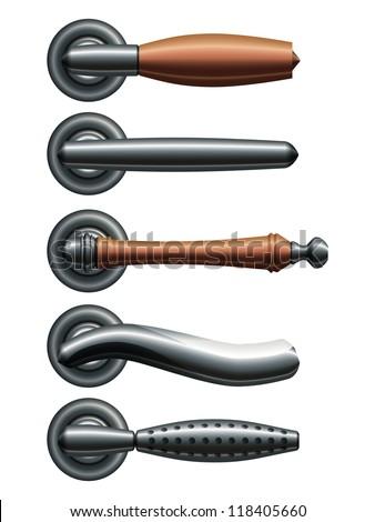 Set of five types of realistic metal door handles. Eps10 - stock vector