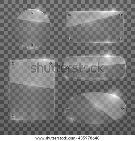 Set of five variety glass frames. Isolated on transparent background. Vector illustration, eps 10. - stock vector