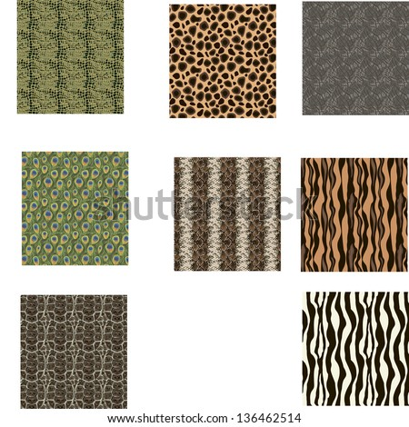 Set of five vector seamless texture in a square
