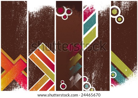 Set of five vintage grunge vertical banners background. Easy to insert your text over and animations. - stock vector