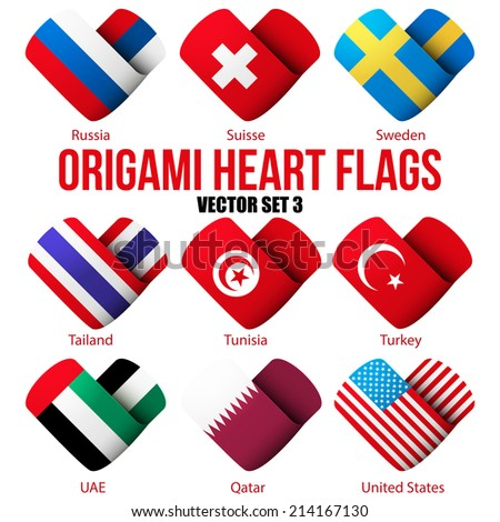 Set of Flag icons in the form of heart. I love it. Vector Illustration Isolated on white background. - stock vector