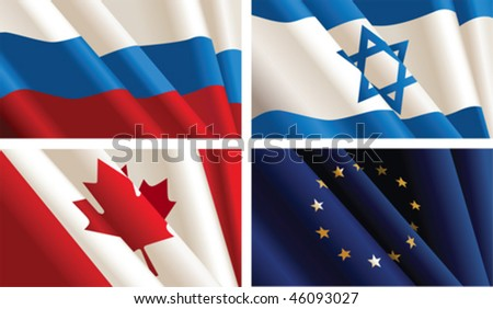 Set of flags.  All elements and textures are individual objects. Vector illustration scale to any size. - stock vector