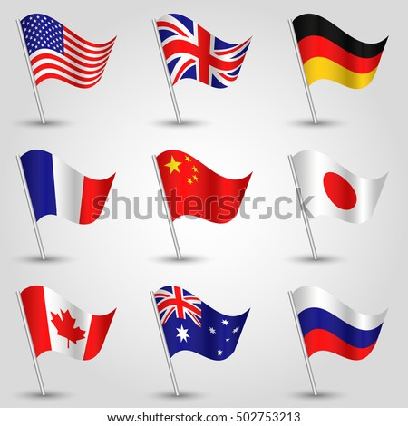 set of flags - american, english, german, french, chinese,  japanese, canadian, australian and russian vector waving triangle flag icon on metal stick