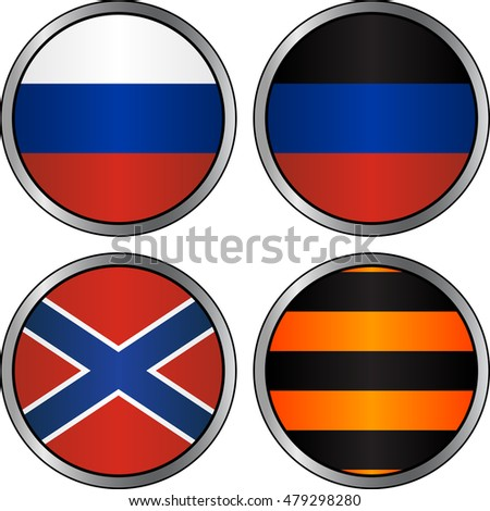 set of flags and georgievsky ribbon in cyrcles. vector illustration
