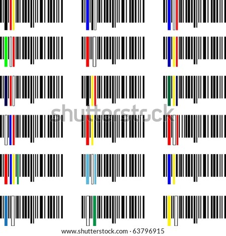 Set of Flags bar-codes of the world - stock vector