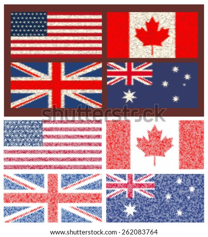 Set of 4 flags (Canada, Great Britain,Australia, USA).In the style of mosaic.Vector illustration - stock vector