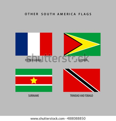 Set of flags from south america, Vector illustration