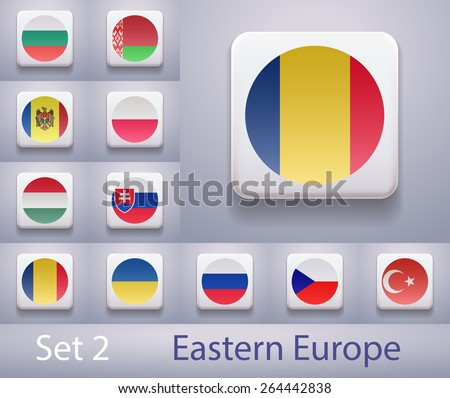 Set of flags in Eastern Europe. Flags in the form of computer-button. Illustration. Image. Vector. Icon. - stock vector